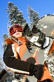 Junge Frau Snowboarder Stockfotos