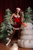 Junge Frau in snowgirl Kleid Stockbild