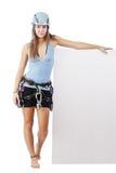 Junge Frau in steigender Ausrüstung Lizenzfreie Stockbilder
