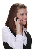 Junge Frau am Telefon Stockfoto