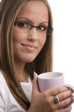 Junge Frau trinkendes coffe Stockfotos