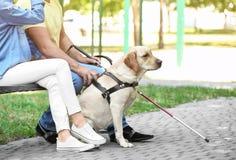Junge Frau und Blinder mit Blindenhundsitzen Lizenzfreies Stockfoto