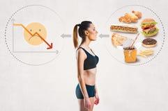 Junge Frau und ein ungesundes Diätkonzept stockbild