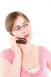 Junge Frau und Telefon Lizenzfreie Stockfotografie