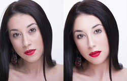 Junge Frau, vor und nach überarbeiten, Schönheitsbehandlung Vor und nach kosmetischer Operation Lizenzfreies Stockbild