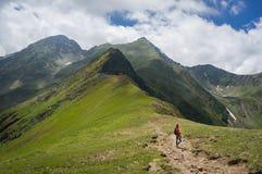 Junge Frau, welche die Ansicht über einen Weg in den Bergen bewundert lizenzfreie stockbilder