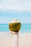 Junge Frau, welche die frische Kokosnuss auf einem Strand hält Stockfotos
