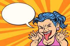 Junge Frau, welche die Zunge lustig zeigt vektor abbildung