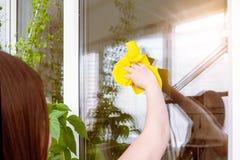 Junge Frau wird in einem Fenster reflektiert, das sie mit einem Lappen w?scht stockbild
