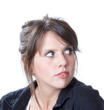 Junge Frau zeigt einen Rückblick Stockbild