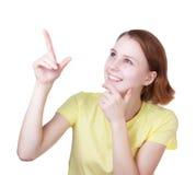 Junge Frau zeigt sich Stockbilder