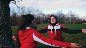 Junge Frau zwei in den Sportkostümen, die Übungen im Park tun stock video