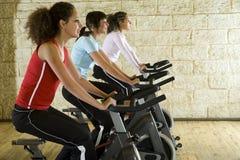 Junge Frauen auf Übungsfahrrädern Stockfotos