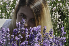 Junge Frauen auf dem Lavendelgebiet lizenzfreies stockfoto