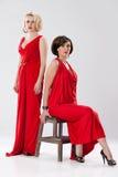 Junge Frauen in den roten Kleidern lizenzfreies stockbild