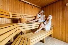 junge frauen in der sauna lizenzfreie stockbilder bild 22120809. Black Bedroom Furniture Sets. Home Design Ideas