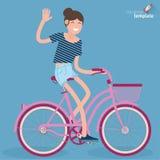 Junge Frauen des flachen Designs, die Fahrrad fahren Lizenzfreie Stockfotografie