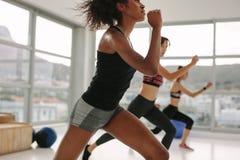 Junge Frauen, die aerobes Training der Gruppe haben Lizenzfreies Stockfoto