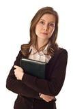 Junge Frauen, die ein Buch anhalten. stockfoto