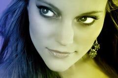 Junge Frauen-Gesichts-Nahaufnahme Stockfoto