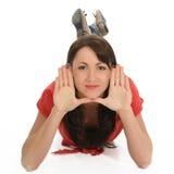 Junge Frauen-gestaltengesicht mit den Händen Lizenzfreies Stockfoto