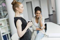 Junge Frauen im Büro Stockfotografie