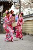 Junge Frauen im Kimonokleid Stockbild