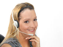 Junge Frauen-Kopfhörer Stockbilder
