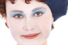 Junge Frauen-lächelnder tragender Gesichts-Lack Lizenzfreies Stockbild