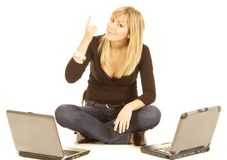 Junge Frauen-Laptop Lizenzfreie Stockfotografie