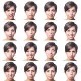 Junge Frauen-Mehrfachverbindungsstellen-Porträt stockfotos