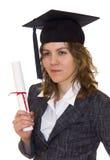 Junge Frauen mit Diplom Stockbild
