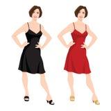 Junge Frauen mit Pendelfrisur im Rot und im Schwarzen kleiden an Stockfotos