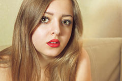 Junge Frauen-Porträt gefiltert Lizenzfreie Stockbilder
