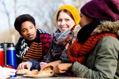 Junge Freunde, die draußen am Picknick im Park sprechen Stockfoto