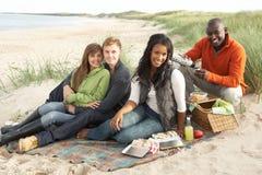 Junge Freunde, die Picknick auf Strand genießen Lizenzfreie Stockbilder
