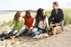 Junge Freunde, die Picknick auf Strand genießen Stockbild