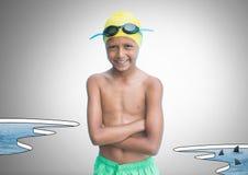 Junge gegen grauen Hintergrund mit Schwimmengang- und -wasserpool mit Haifischen stock abbildung