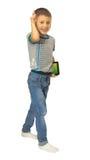 Junge geht mit der Tablette Lizenzfreie Stockbilder