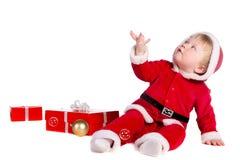 Junge gekleidet als Weihnachtsmann lizenzfreie stockbilder