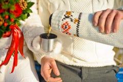 junge geliebte Paare, die im Winterpark sich wärmen Hände mit Schalen heißem Tee Lizenzfreies Stockfoto