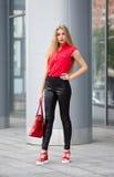 Junge Geschäftsdame in den schwarzen Hosen, in der roten Bluse, Modetasche und stockbilder