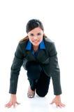 Junge Geschäftsfrau betriebsbereit zu laufen Lizenzfreie Stockfotos