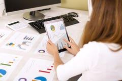 Junge Geschäftsfrau, die Absatzerfolge auf Tablette wiederholt Diagramme auf Bürotisch lizenzfreie stockfotografie