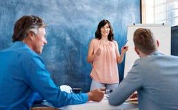 Junge Geschäftsfrau, die den Mitarbeitern auf einem whiteboard eine Darstellung gibt Stockbild