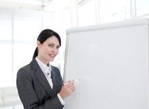 Junge Geschäftsfrau, die eine Darstellung gibt Lizenzfreies Stockfoto