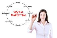 Junge Geschäftsfrau, die eine Markierung hält und Kreisdiagramm der Struktur des digitalen Marktgeschehens zeichnet lizenzfreies stockbild