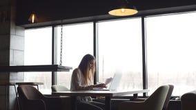 Junge Geschäftsfrau, die an einem Laptop verwahrt Dokumente in den Händen arbeitet stock footage