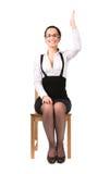 Junge Geschäftsfrau, die herauf Hand ausdehnt Lizenzfreie Stockfotografie