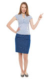 Junge Geschäftsfrau, die oben zeigt Lizenzfreie Stockfotos